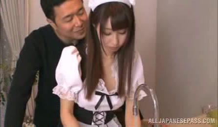 Cute Japanese Teen Seduces Her Master As She Takes Off Her Black And White Maid's Costume Then Shows Him Her Juicy Tits And Luscious Body In White Lingerie And Black Stockings On A White Bed.