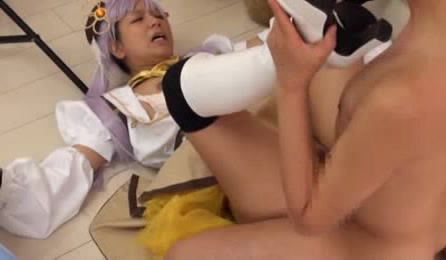 Smoking Hot Chick Wearing Purple Hair Bares Her Hot Boobs Wearing Her White And Brown Anime Costume Then Lets Her Boyfriend Bang Her And Jizz On Her Hairy Pussy.