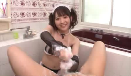 Pretty Asian Maid With Alluring Body In Black Lingerie And Stockings Rubs Her Master's Dick With Soap Then Wanks It Before She Rubs It With Her Feet In The Bathroom.