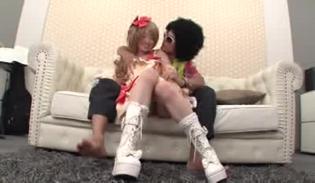 Stunning Japanese Chick In Lovely Rose Red And Flesh Dress Lets Her Afro Boyfriend Play With Her Tit On A White Couch Before She Makes Out With Him While He Rubs Her Pussy.