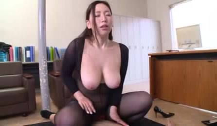 Alluring Asian Displays Her Huge Boobs Wearing Her Black Nylon Outfit While She Rides On Her Boyfriend's Dick Before She Sucks It Then Lets Him Doggy Fuck Her On A Brown Couch.