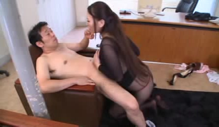 Smoking Hot Japanese Chick Wearing Her Black Nylon Outfit And High Heels Licks Her Boss' Nipples Before She Rubs His Dick Between Her Huge Boobs Then Rides On It In An Office.