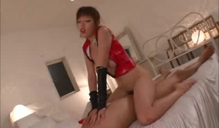 Sweet Asian Babe Bares Her Juicy Tits While She Rides On Her Stud Boyfriend's Dick Wearing Her Red Cosplay Blouse On A White Bed Before She Lets Him Bang Her In Doggy Position.