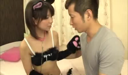 Lusty Asian Hottie Takes Off Her Black Pussy Cat Outfit Then Displays Her Alluring Body In Black Lingerie Before She Lets Her Man Lift Up Her Bra And Suck Her Lusty Boobs On A White Bed.
