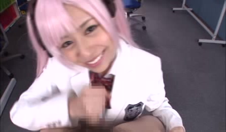 Japanese Teen With Pink Wig Wearing Her White And Black School Girl Outfit Gets On Her Knees And Sucks The Jizz Out Of A Huge Dick.