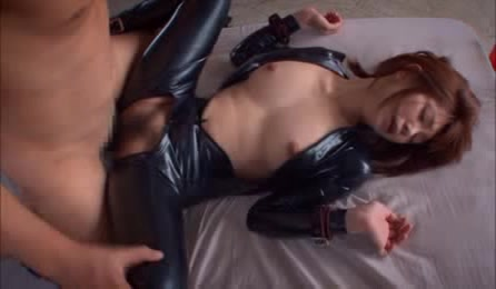 Smoking Hot Asian Theif With Sizzling Hot Body In Tight Leather Outfit Lets A Handsome Stud Suck Her Soft Boobs Before She Lets Him Fuck Her In Different Styles On A White Bed.