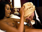 Ebony shemale has a whale of a time with white dude