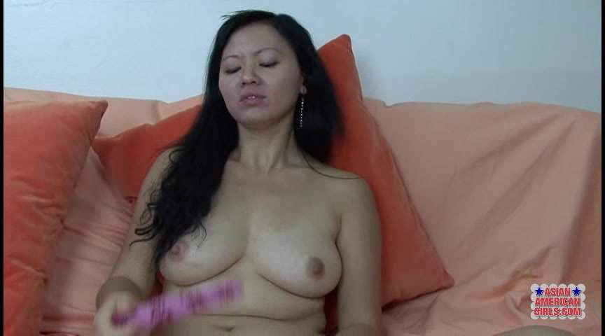 Exotic Asian Girl With Hairy Pussy Fucks Herself With A Dildo