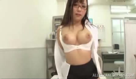Busty JP Doctor With Shaved Cunt Sucks Cock In Her Office