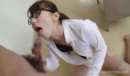 This Horny Japanese Teacher Is Sexy In Her Glasses And Tight Skirt And Cum All Over Face