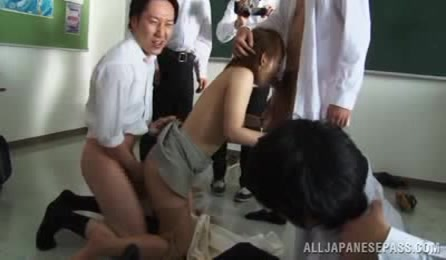 Japanese Female Teacher Looks So Hot And Sexy, So Her Make Students Involve Her Into A Kinky Group Orgy