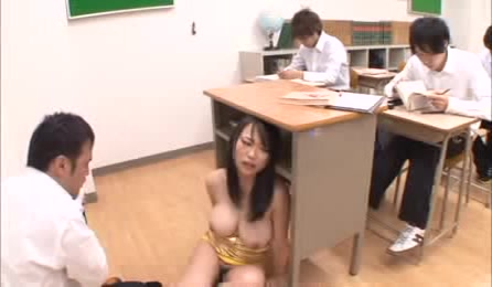 Nice Japanese Female Teacher Comes To A Classroom In A Fashionable Sexy Dress