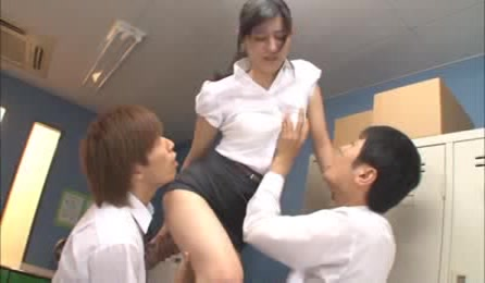 While Hot Teacher Is Up The Stairs Retrieving Books, Bad Students Arrange Hot Stand Fucking