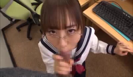 Nerdy And Naughty Asian School Girl Sucks Dick In The Library