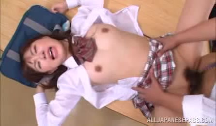 Cute Japanese School Girl With Hairy Pussy Fucks Classmate In Their Room
