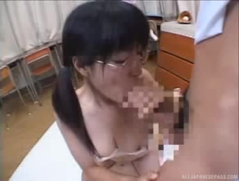 Japanese School Nerd With Huge Tits Hot Threesome In Class