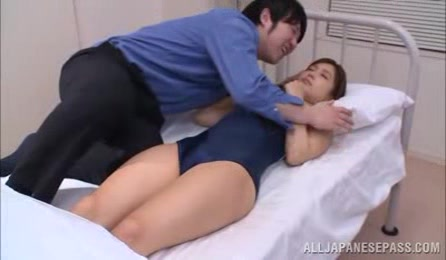 Shy Japanese Babe In Swimsuit Hot Threesome Fuck In Bed