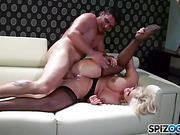 Classy blonde slut in stockings needs a big pecker