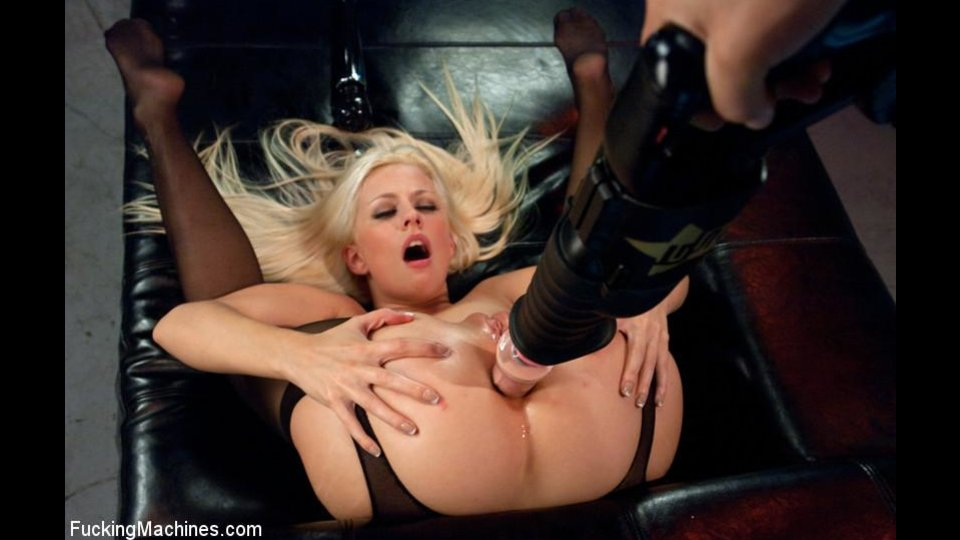 Blonde With Big Ass In Pantyhose Got Pounded By Sex Machine