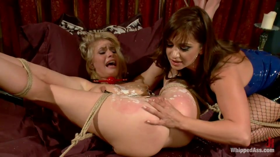 Blonde Is Bound Tightly With Rope Then Fucked Hard By A Domineering Wench With A Strap