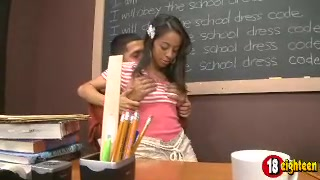 Yummy Girl In A Striped Top And Tan Shorts Does Dick In Detention.