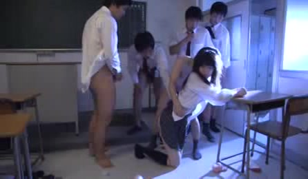 Sweet Japanese Teen Seduced By Horny Classmates And Fuck Hard In School