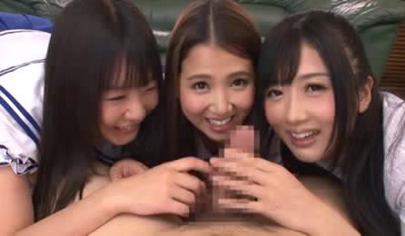 Three Cute Japanese Teens Get Curious And Play With Cock
