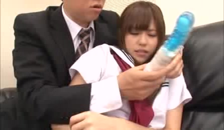 Cute Little Japanese School Girl Slut Lets Guy In Suit Touch Her