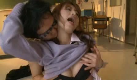 Horny Agressive Japanese Schoolgirl Wearing Uniform Seduces Man In Classroom