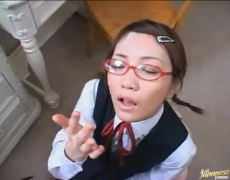 Nerdy Japanese Babe Hard Blowjobs And Gets Cum On Face