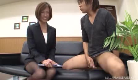 Glorious Japanese Office Babe Has A Young Handsome Visitor