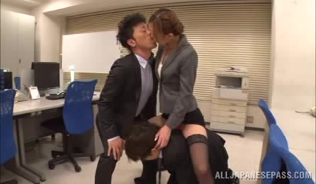 Bad Girl Lures Two Horny Colleagues Into Her Wet Cave