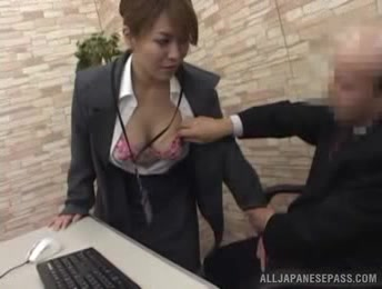 Young Girl Climbs An Office Table And Spreads Her Thighs To Get Licked