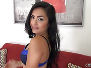 little asian beauty in blue strips down to show her tight ass