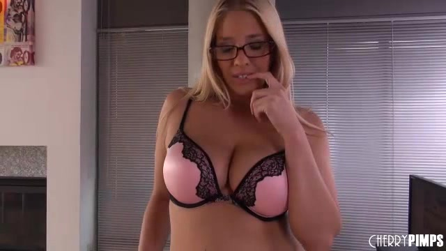 Blonde Office Babe Shows Her Big Tits And Fat Pussy At Work