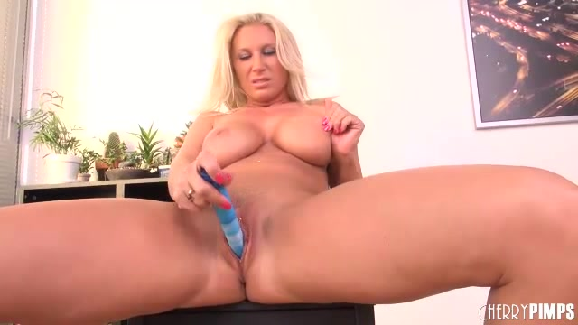 Mature Blonde Slut With Big Tits Fucks Her Pussy With A Dildo
