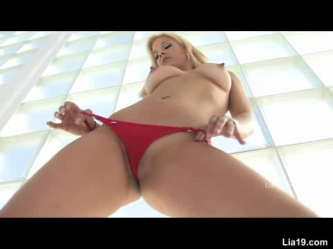 Steaming Hot Blonde Seduces With Her Luscious Body In Red Lingerie And Silver High Heels Then Takes Off Her Bra And Bares Her Sweet Boobs Then Strips Down Her Panty And Expose Her Indulging Pussy.