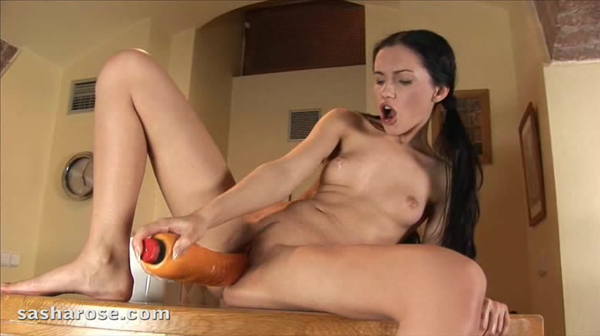Teen In Pigtails Take In A Huge Dildo In Her Young Pussy.