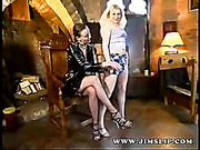 32 yo Brunette Lara Latex and 24 yo Blonde Rebecca Brunette