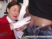 32 yo Brunette Lara Latex and 39 yo Grey Paul Blowjobs